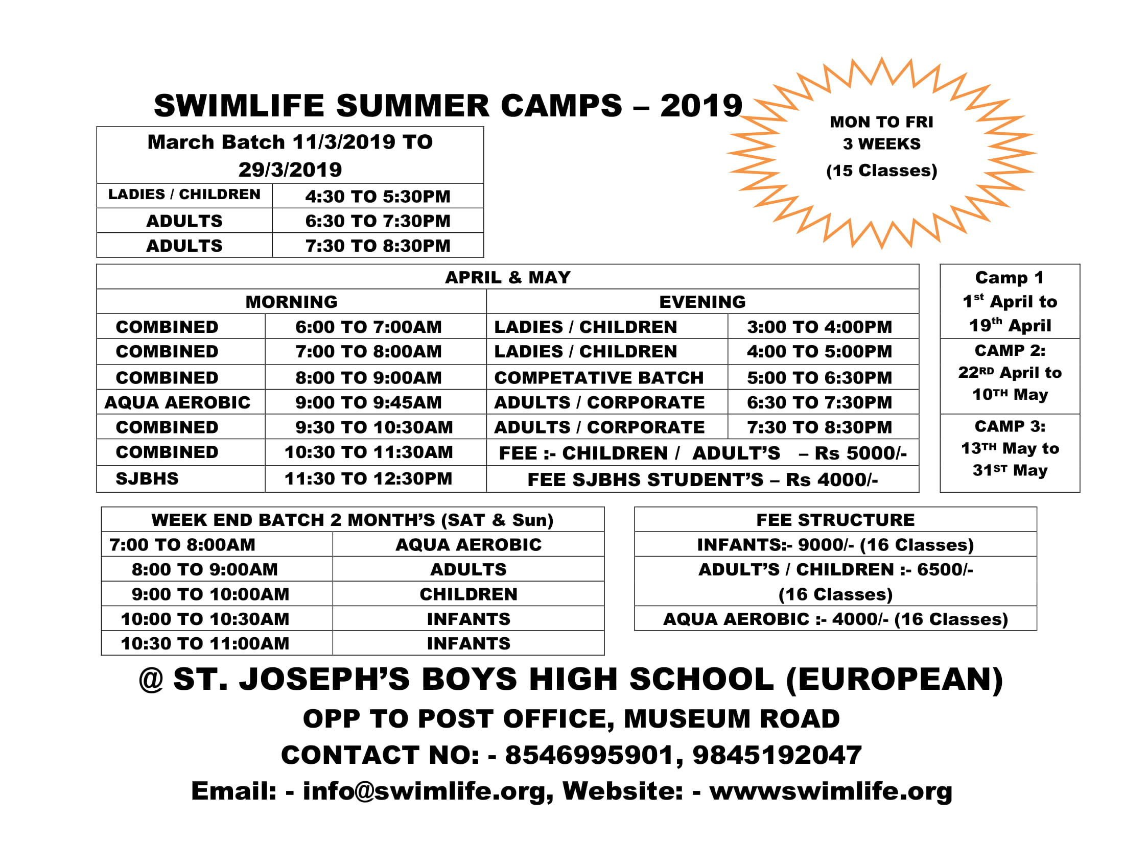Swimming Summer Camp 2019
